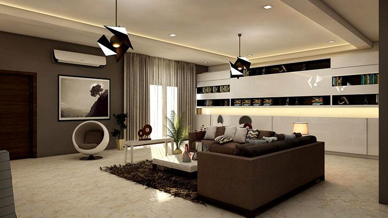 rectangular white coffee-table near brown leather sofa